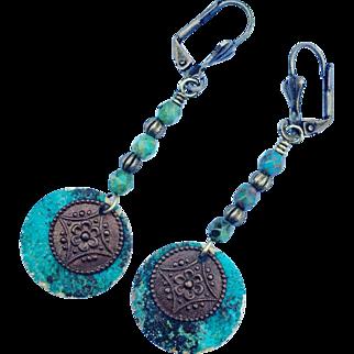 Verdigris Patina Czech Glass Earrings