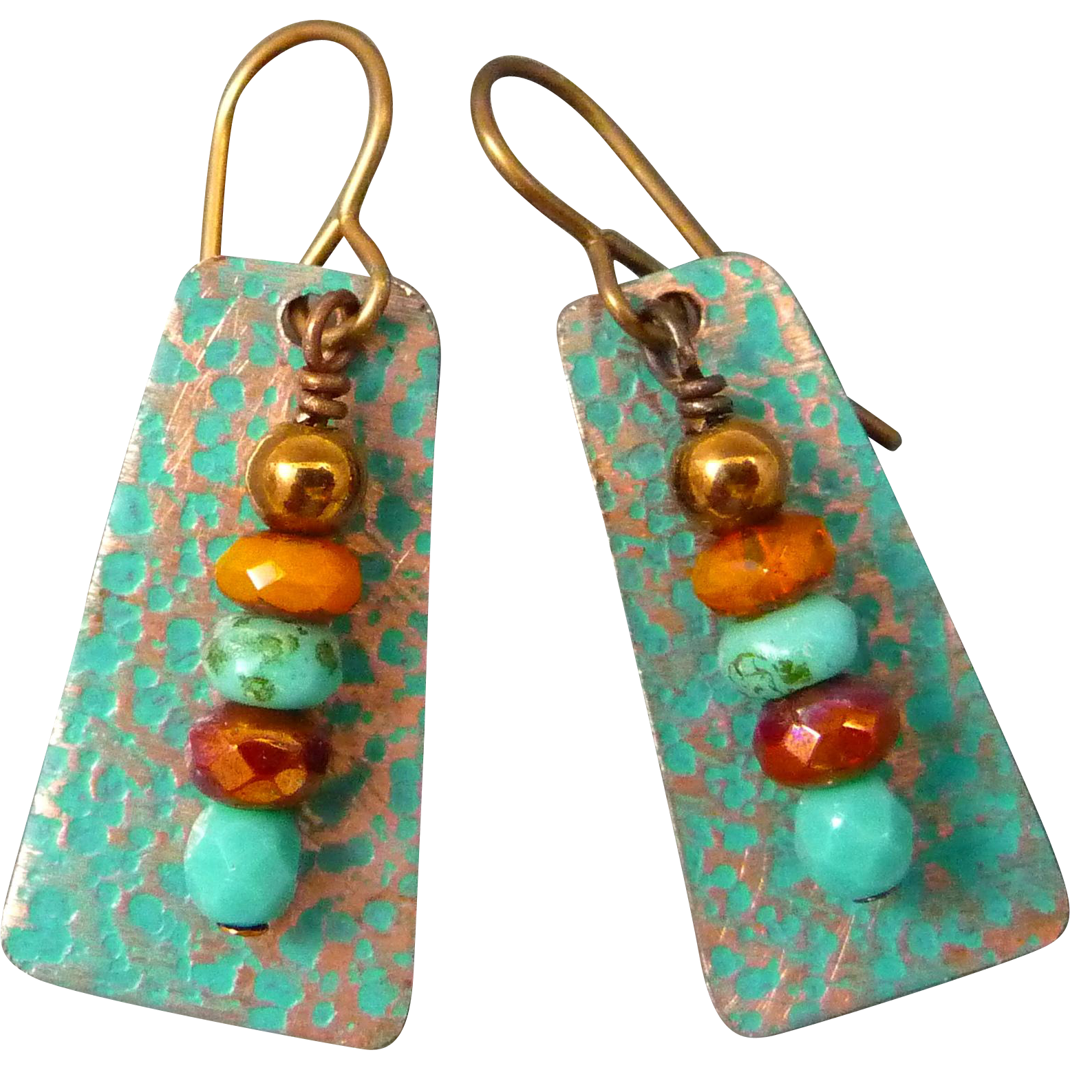 Rustic Copper Earrings With Czech Glass Beads
