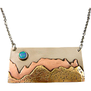 Moon Over The Mountain Opal Sterling Silver, Brass And Copper Pendant Necklace.