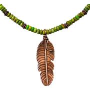 Copper Feather Green Turquoise Necklace