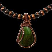 Larsonite Jasper Woven Pendant Necklace