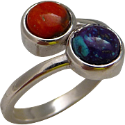 Purple Turquoise And Apple Coral Sterling Silver Ring Size 7