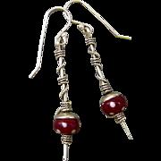 Lampwork Glass Sterling Silver Wrapped Stick Earrings