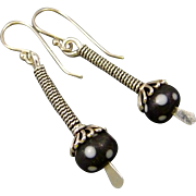 Black And White Polka Dot Lampwork Glass Sterling Silver Wrapped Stick Earrings