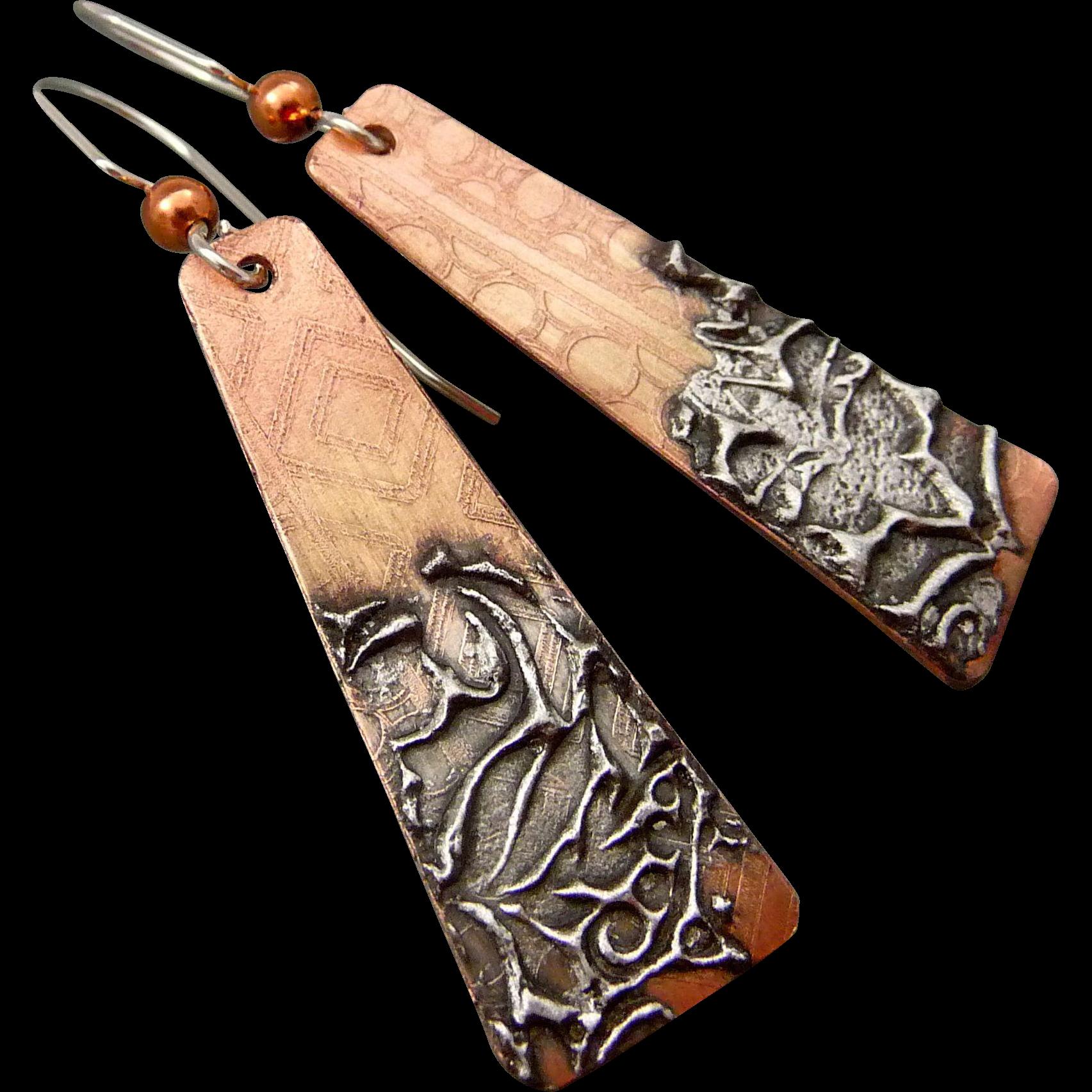 Rustic Stamped Solder Copper Earrings