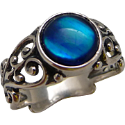 Sterling Silver Filigree Abalone Ring Size 8