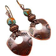 Tribal Copper Stamped Shield Earrings