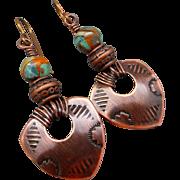 Tribal Copper Stamped Shield Earrings