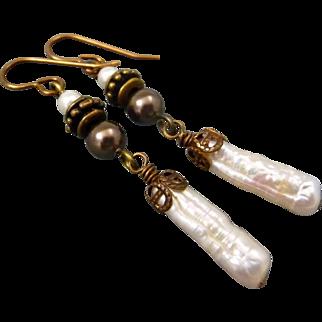 Freshwater Stick Pearl Dangle Earrings
