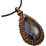 Copper Woven Pietersite Pendant Necklace
