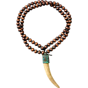 Deer Antler Tine Necklace With Patina Copper Cap With Turquoise Cabochon And Copper Beads