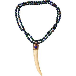 Deer Antler Tine Necklace With Azurite Malachite Beads And Lapis Cabochon
