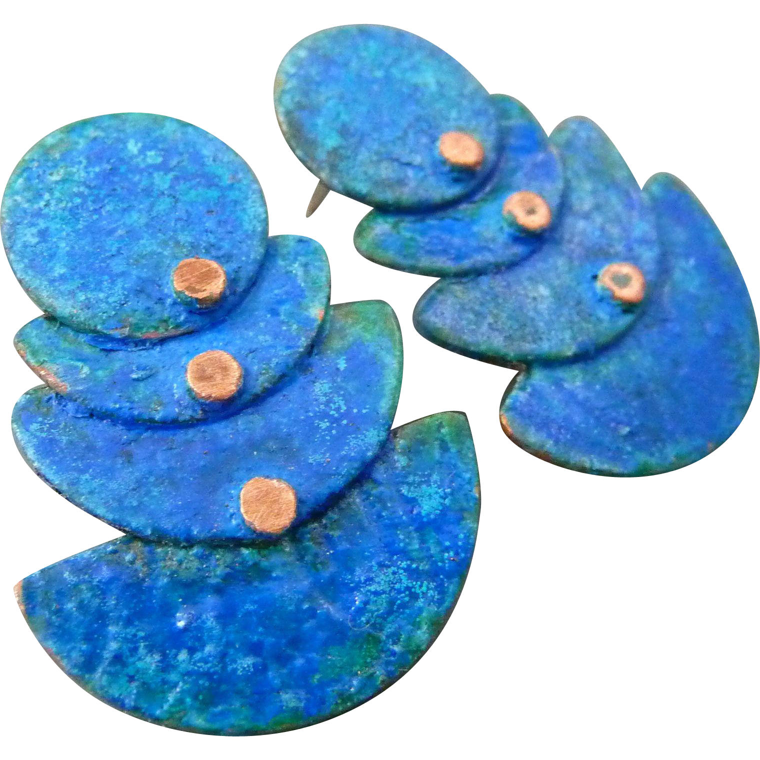 Copper Four Tier Post Earrings With Blue Patina