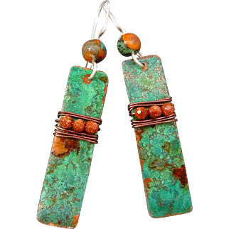 Copper Patina Wrapped Goldstone Earrings