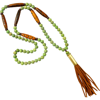 Matt Finished Green African Turquoise Bullet Shell Tassel Necklace