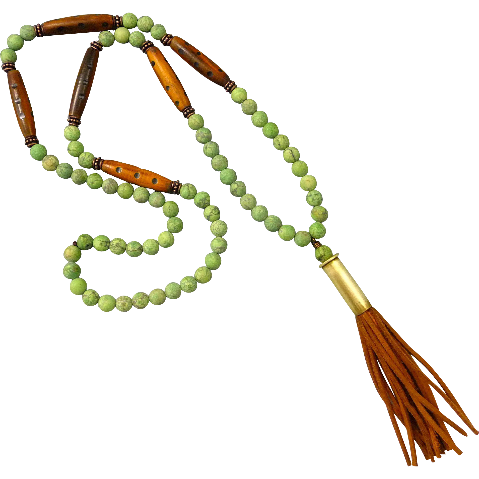Matt Finished Green Magnesite Bullet Shell Tassel Necklace