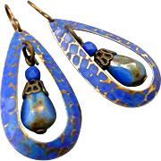 Blue Textured Teardrop Earrings