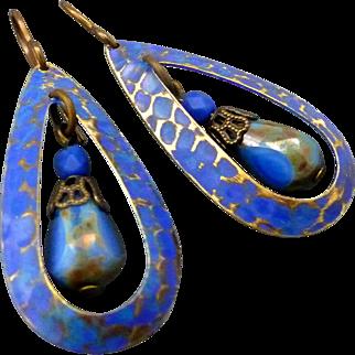 Blue Textured Teardrop Earrings