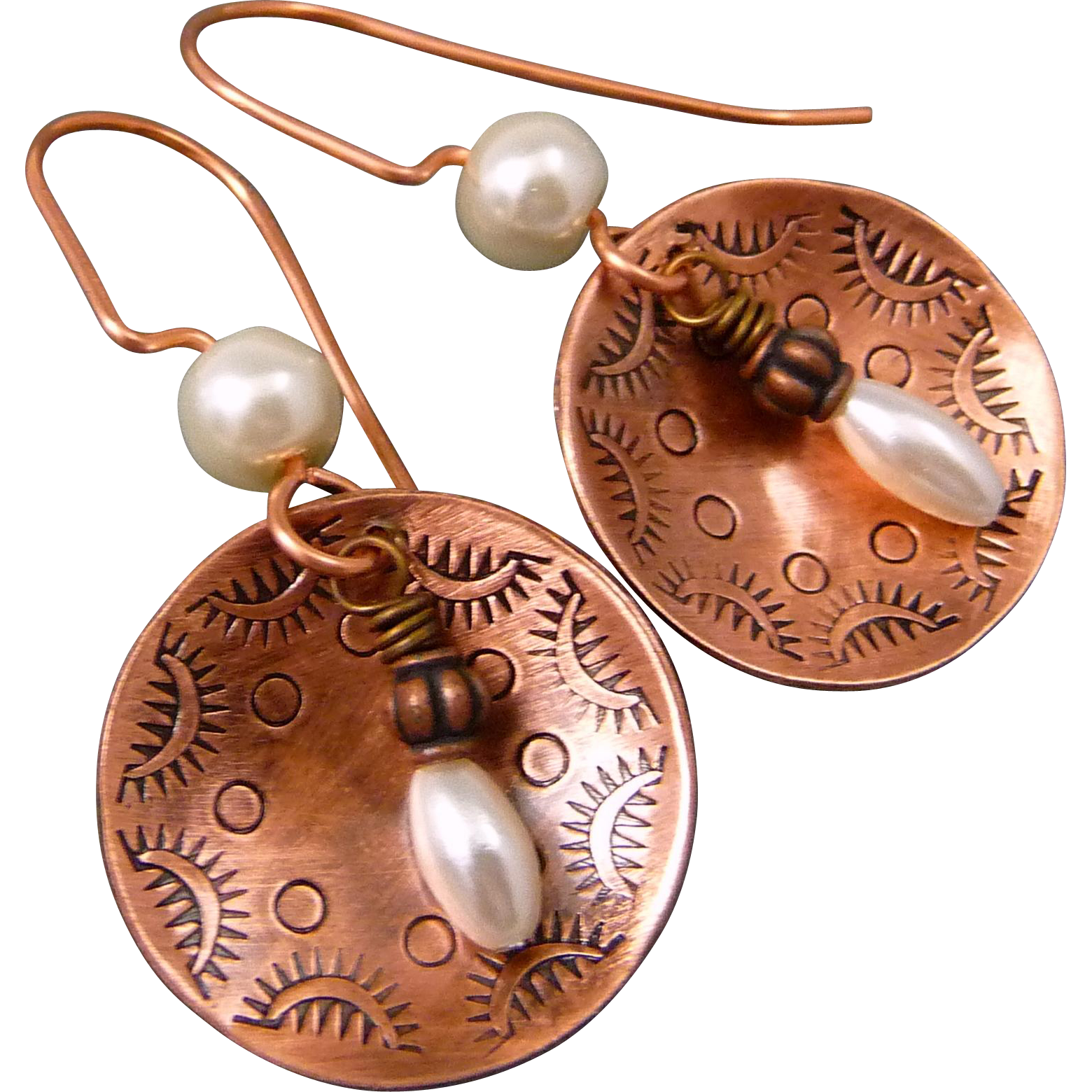 Stamped Copper And Pearl Earrings