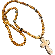 Picture Jasper Necklace With Bone Cross Pendant