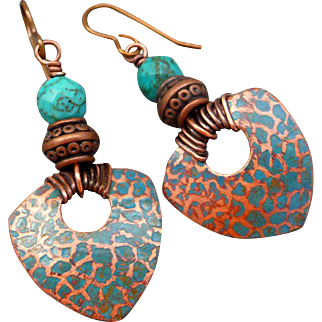 Boho Copper Patina Stamped Shield Earrings