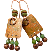 Copper And Czech Glass Earrings