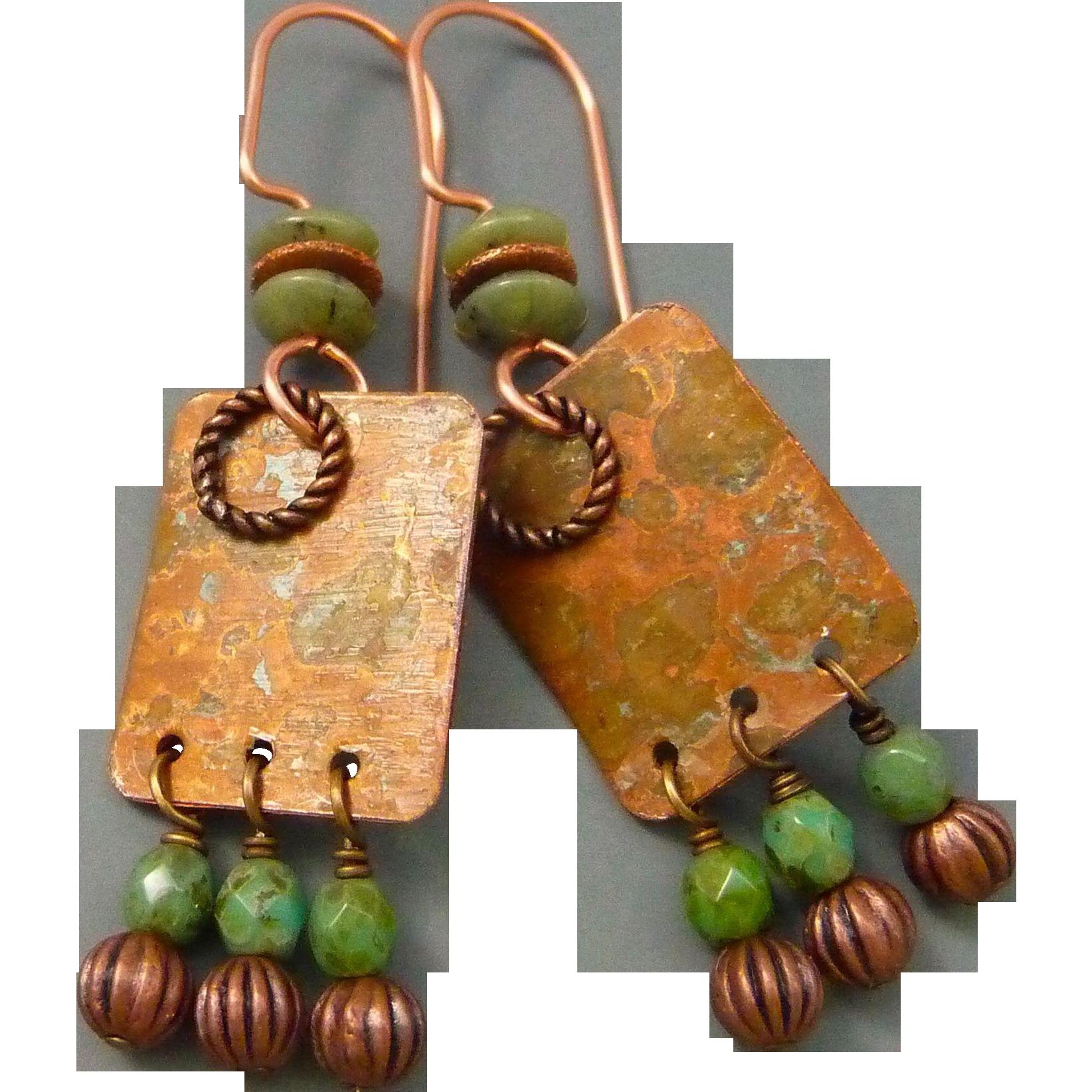Copper And Czech Glass Earrings