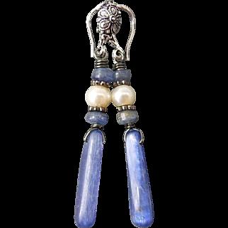Blue Kyanite And Freshwater Pearl Gunmetal Earrings