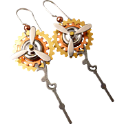 Mixed Metal Steam-punk Gear Earrings