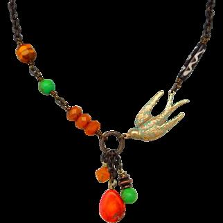 Safari Inspired Asymmetrical Bird Necklace