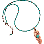 Copper And Turquoise Feather Necklace