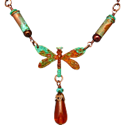 Rustic Patina Dragonfly Bullet Shell Necklace