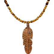 Picture Jasper And Copper Feather Necklace