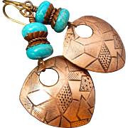 Tribal Copper Etched Shield Earrings