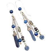 Blue Kyanite Spectrolite And Labradorite Dangle Earrings