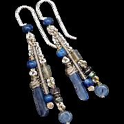 Blue Kyanite Spectrolite And Labradorite Dangle Earrings