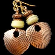 Lampwork Glass Shield Earrings