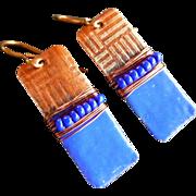 Copper Textured Enamel Earrings