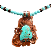 Hand Forged Copper Turquoise Magnesite Pendant Necklace