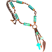 Verdigris Patina Bullet Shell Necklace With Copper Charms And Czech Glass Beads