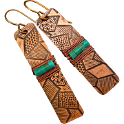 Textured Copper And Turquoise Wrap Earrings