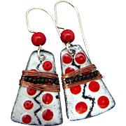 Black White And Red Sgraffito Earrings