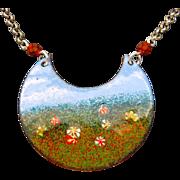 Impressionistic Enamel Pendant Necklace