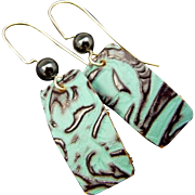 Embossed Patina Leather Earrings