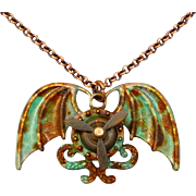 Steampunk Winged Propeller Patina Necklace