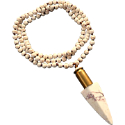 Natural Howlite Bullet Shell Arrowhead Long Necklace