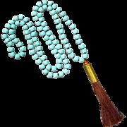 Matt Turquoise Magnesite Bullet Shell Casing Tassel Necklace
