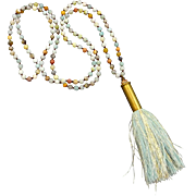 Amazonite Bullet Shell Casing Necklace With A Blue And Gold Tassel