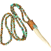 Deer Antler Tine Necklace With Copper Infused Turquoise Beads And Cabochon