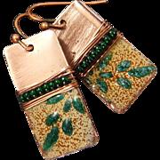 Copper Enamel Leaf Wrapped Earrings